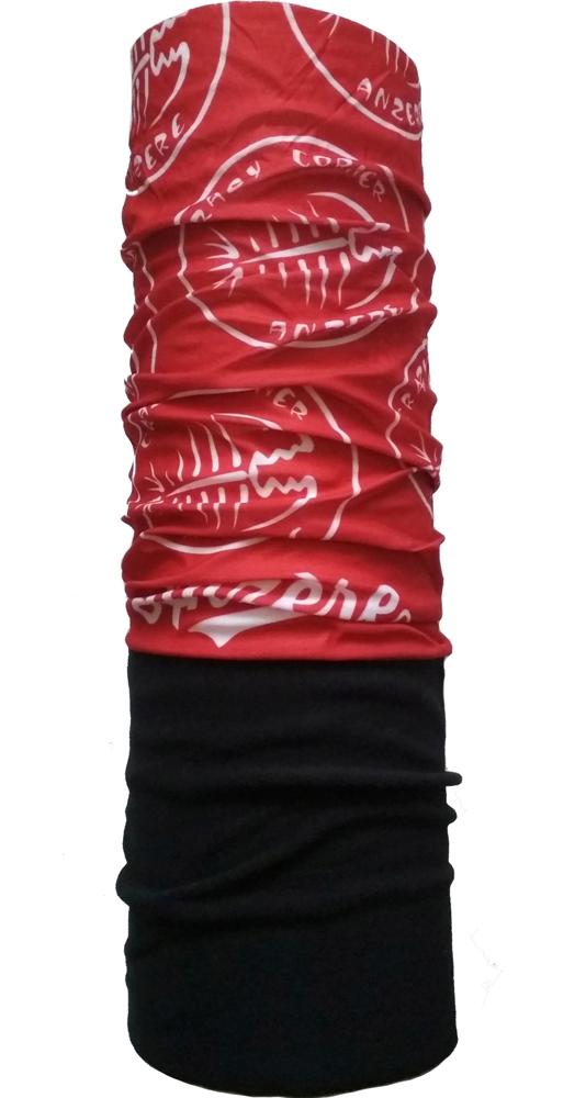 Шарф-труба флис с хлопком однослойный ZAN (black/red)