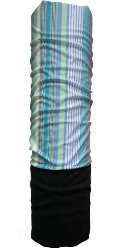 Шарф-труба флис с хлопком однослойный ZAN (black/strip)