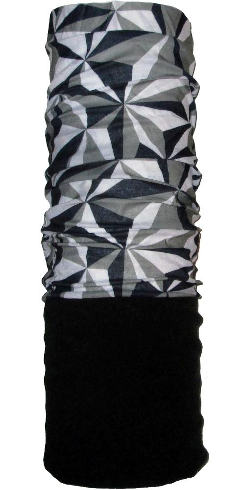 Шарф-труба флис с хлопком однослойный ZAN (black/gray)