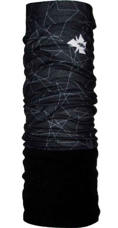 Шарф-труба флис с хлопком однослойный ZAN (black/white ninja)